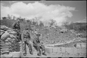 New Zealanders look out on peaceful scene in the Volturno River area, Italian Front, World War II - Photograph taken by George Kaye