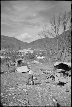 General view of New Zealand camping area in the Volturno Valley, Italy, World War II - Photograph taken by George Kaye