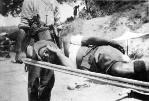 Guy Bridgeman being carried on a stretcher, Gallipoli, Turkey