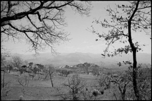 Looking towards an Italian village in the Volturno Valley, Italy - Photograph taken by George Kaye