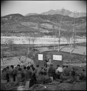 General view of class in progress at the New Zealand Malarial School in the Volturno Valley, Italy, World War II - Photograph taken by M D Elias