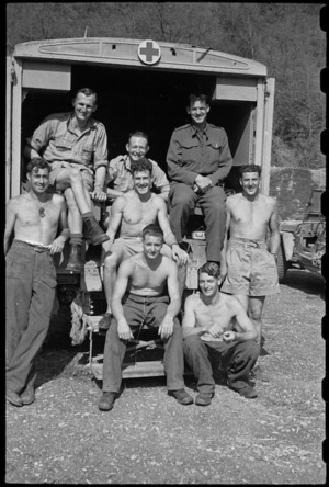 A group of ambulance drivers at 6 NZ Field Ambulance in the Cassino area, Italy, World War II - Photograph taken by George Bull