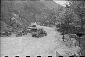 Military traffic control post at foot of the Inferno Track, Cassino area, Italy, World War II - Photograph taken by George Bull