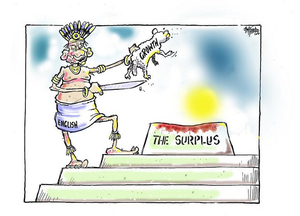 Hubbard, James, 1949- :Bill English - Growth - The surplus. 28 May 2012