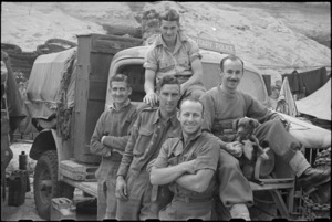 Group of NZ Provosts at Hove Supply Dump, Cassino area, Italy - Photograph taken by George Bull