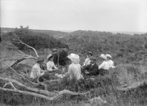 Unidentified group picnicking, Chatham Islands