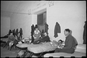 Patients in 2 NZ General Hospital, Caserta, Italy, entertained by programmes relayed over loud speaker system - Photograph taken by George Bull