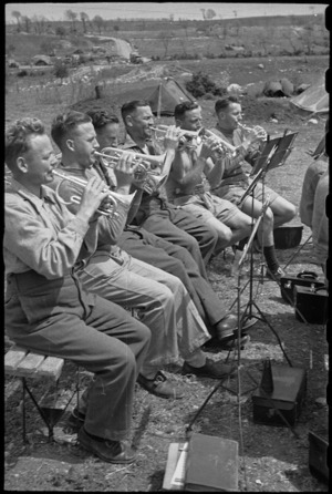 Cornet section of 6 NZ Infantry Brigade Band practises in Volturno Valley area, Italy, World War II - Photograph taken by George Bull