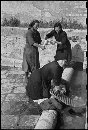 Local women washing clothes in the old Roman washing place in Campobasso, Italy - Photograph taken by George Bull