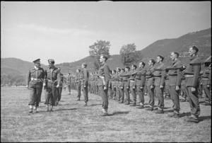 General Freyberg during inspection of 5 NZ Infantry Brigade in the Volturno Valley, Italy, World War II - Photograph taken by George Kaye