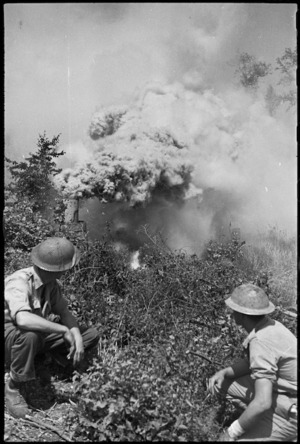 Smoke screens being laid in Cassino as Allied attack proceeds, Italy, World War II - Photograph taken by George Kaye