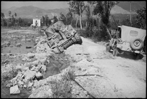 Abandoned Sherman tank on outskirts of Cassino, Italy, World War II - Photograph taken by George Kaye