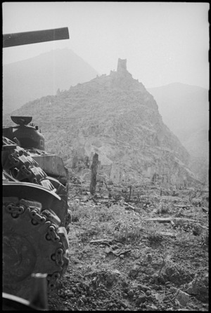 Castle Hill seen from the town of Cassino, Italy, World War II - Photograph taken by George Kaye