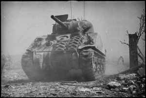 New Zealand tank advances on Cassino the day it fell to 8th Army, Italy, World War II - Photograph taken by George Kaye