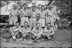 New Zealanders in front of one of the tents at 1 NZ Convalescent Depot in Santo Spirito, Italy, World War II - Photograph taken by George Bull