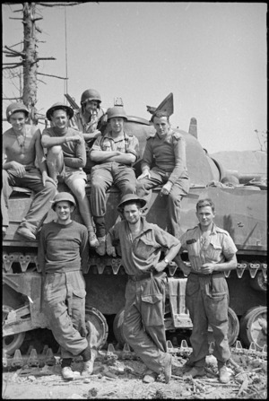 New Zealand tankmen in Cassino on the day it fell to 8th Army, Italy, World War II - Photograph taken by George Kaye
