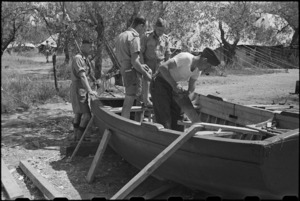 Building a boat for use of patients at 1 NZ Convalescent Depot at Santo Spirito, Italy, World War II - Photograph taken by George Bull
