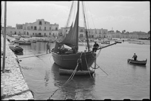 Yugoslav cutter used by 1 NZ Convalescent Depot patients for recreation, Santo Spirito, Italy, World War II - Photograph taken by George Bull