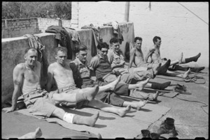 Patients exercising their legs with remedial exercises at 1 NZ Convalescent Depot at Santo Spirito, Italy, World War II - Photograph taken by George Bull