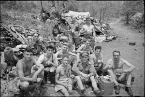 Members of a forward platoon of New Zealand machine gunners on 8th Army Front, Italy, World War II - Photograph taken by George Kaye