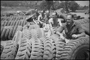 Tyres for NZ vehicles near forward areas of the Cassino Front, Italy, World War II - Photograph taken by George Kaye