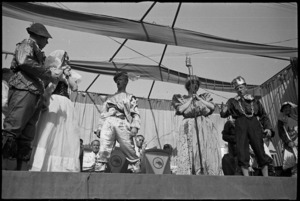 Opera burlesque presented by members of the Kiwi Concert Party in Volturno Valley, Italy, World War II - Photograph taken by George Kaye