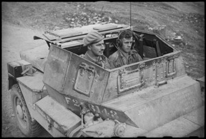 Brigadier Cyril Weir in his dingo about to visit NZ gun positions in Volturno Valley area, Italy, World War II - Photograph taken by George Kaye