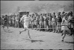 A Jones and W Mulholland, first and second placings, in heat of 220 yards race at 5 NZ Infantry Brigade Sports Meeting, Italy - Photograph taken by George Kaye