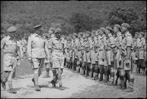 General Freyberg inspecting the 4 NZ Armoured Brigade at ceremonial parade in the Volturno Valley, Italy, World War II - Photograph taken by George Kaye