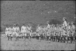 General Freyberg inspecting 4 NZ Armoured Brigade at ceremonial parade in the Volturno Valley, Italy, World War II - Photograph taken by George Kaye