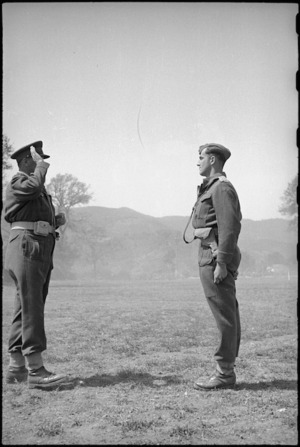 Captain R B Abbot after his Military Cross decoration by General Freyberg, Volturno Valley, Italy, World War II - Photograph taken by George Kaye