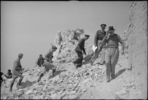 Peter Fraser reaches the top of Monastery Hill, Cassino, with General Bernard Freyberg and General Edward Puttick, Italy, World War II - Photograph taken by George Kaye