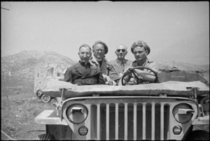 Chief Prior of Abbey Cassino returns to the ruins of the Monastery in an army jeep, Italy, World War II - Photograph taken by George Frederick Kaye
