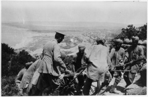 Indian soldiers hauling a mounted gun up into position on Walkers Ridge, Gallipoli, Turkey