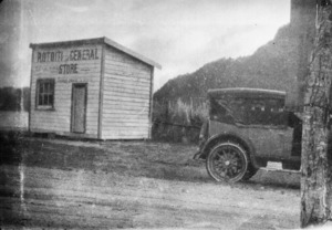 Rotoiti General Store and car - Photographer unidentified