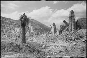 Scene of devastation in the town of Cassino when it fell to the Allied attack, Italy, World War II - Photograph taken by George Kaye
