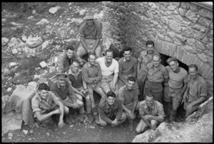 Group of machine gunners at company headquarters in the Cassino area, Italy, World War II - Photograph taken by George Kaye