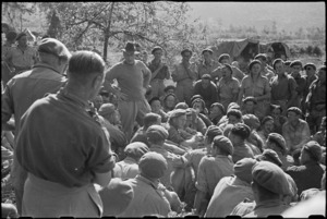 Prime Minister Peter Fraser addresses 19 NZ Armoured Regiment at St Elia, Italy, World War II - Photograph taken by George Bull
