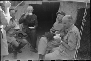 Prime Minister Peter Fraser having afternoon tea with senior officers in the Volturno Valley area, Italy, World War II - Photograph taken by George Bull
