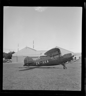 View of Auckland Aero Club's Rearwin Sportster monoplane ZK-AKA, Mangere Airfield, Auckland