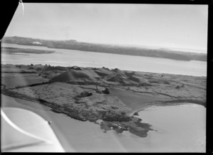 View of the Kellihers' Puketutu Island farm, looking across the Manukau Harbour to New Lyn and Mount Roskill, South Auckland