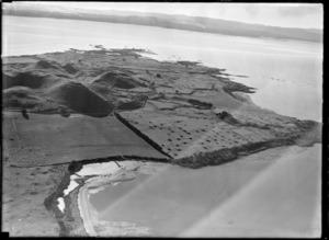 View of the Kellihers' Puketutu Island farm, looking across the Manukau Harbour to Titirangi, South Auckland