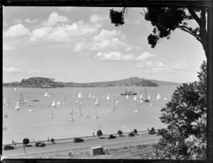 Yachts in Auckland harbour, including Rangitoto Island and North Head
