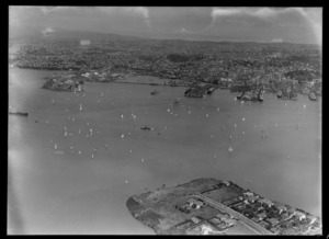View of a yacht race on Auckland Harbour with Auckland City and waterfront beyond