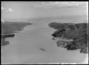 Lyttelton Harbour and township with wharf area, looking to the Pacific Ocean, Christchurch, Canterbury