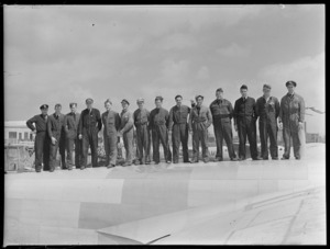Group portrait of Royal New Zealand Air Force Servicing Staff, at Mechanics Bay, Auckland