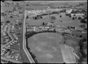 View to Kings College with Hospital Road and railway, with Auckland Golf Course Links and Middlemore Hospital beyond, Mangere East, Auckland City
