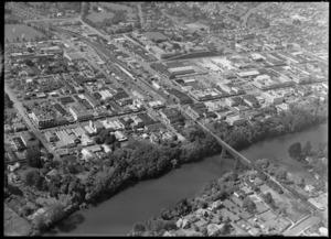 Hamilton city, including Victoria Street, Claudelands Rail Bridge and the Waikato River, Hamilton, Waikato