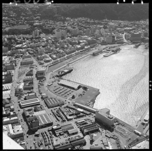 Aerial view of Wellington city and wharves