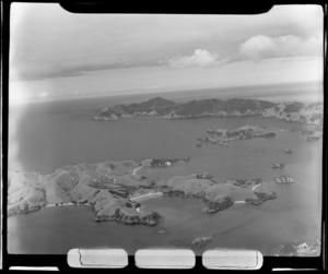 View of Otehei Bay and the Zane Grey farm residence with jetty, Urupukapuka Island, Bay of Islands, Northland Region